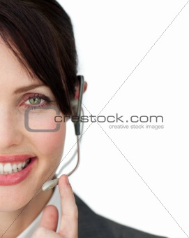 Cute woman working in a call centre