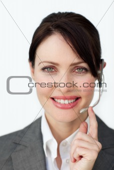 Glowing businesswoman with headset
