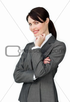 Positive beautiful businesswoman standing