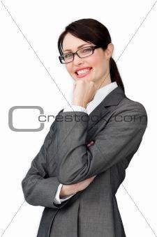 Assertive elegant businesswoman wearing glasses