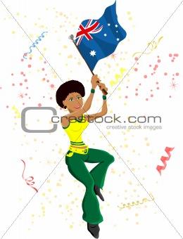 Black Girl Australia Soccer Fan with flag.
