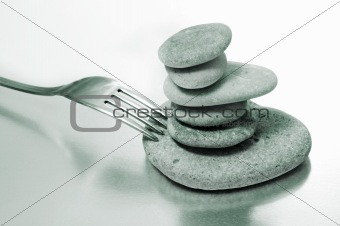 fork and stones