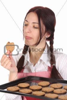 housewife eating a slice of chocolate cake