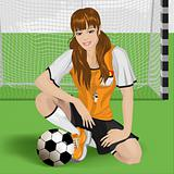football girl sitting