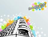 Colorful splats city building
