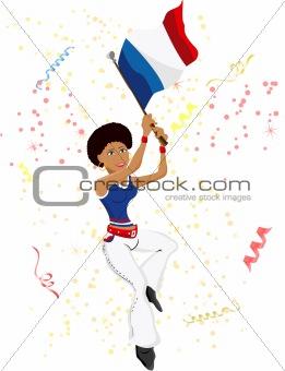 Black Girl France Soccer Fan with flag