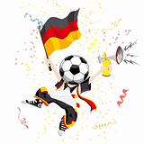 German Soccer Fan with Ball Head