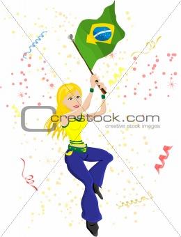Brazil Soccer Fan with flag.
