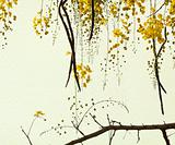 Golden Shower Tree on Handmade Paper