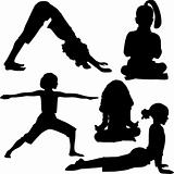 Child`s yoga and gymnastics