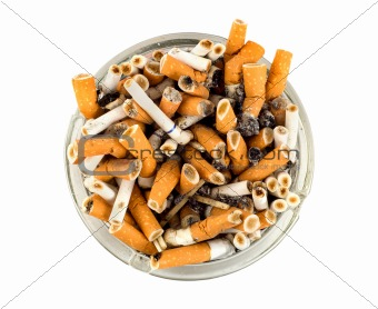 Cigarettes in an ashtray isolated