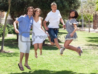 Group of young friends having fun