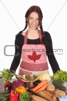 beautiful housewife preparing