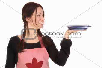 housewife holding empty plate