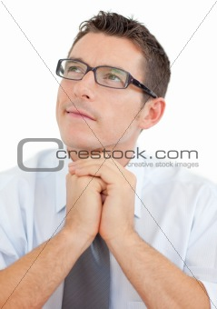 Portrait of an attractive businessman wearing glasses