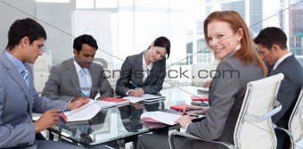 International business team in a meeting