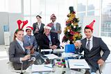Businessman team celebrating christmas
