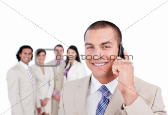 Attractive  businessman talking on phone