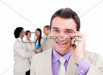 Portrait of an attractive businessman on phone