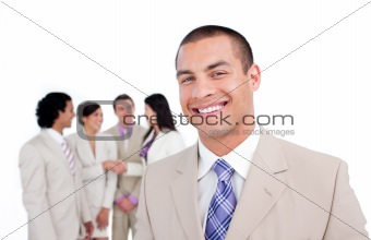Charming businessman with his team