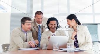 Smiling business partners in a meeting