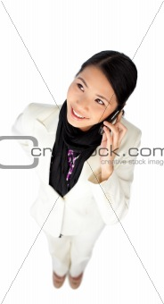 Smiling attractive businesswoman on phone