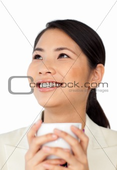 Asian businesswoman drinking coffee