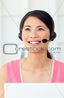 Beautiful Businesswoman talking on headset