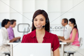 Charismatic Businesswoman with headset on