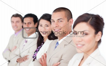 A diverse business team standing in a line