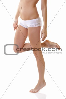 long legs in white bikini panties
