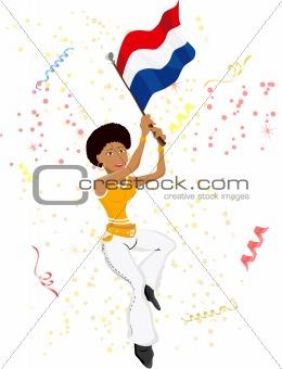 Black Girl Dutch Soccer Fan with flag