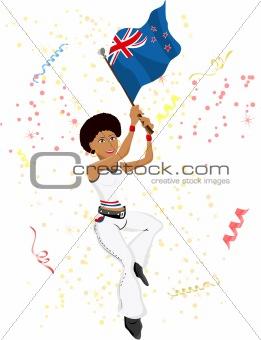 Black Girl New Zealand Soccer Fan with flag.