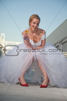 Attractive twenties caucasian blonde bride
