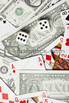 Background of money dice and cards