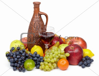 Artistic composition of fruit and jug