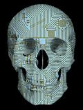 Human skull with circuit board pattern