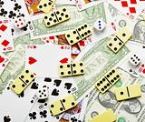 Gambling background with dominoes and money