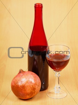 One bottle of pomegranate wine