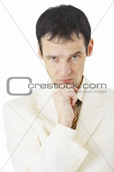 Portrait of serious and attentive businessman