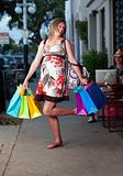 Cute pregnant woman shopping