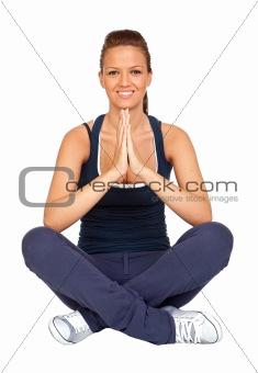 Attractive girl doing yoga