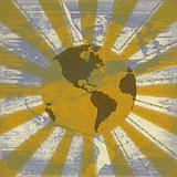 Global sunrise grunge background