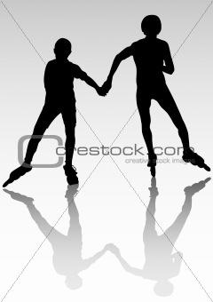 Couple athletes on skates