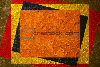 Grunge background and texture with colour rectangles.