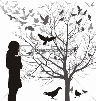 A girl admires the birds