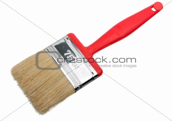 Single brush with red plastic handle