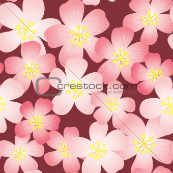 Abstract cherry-flowers background