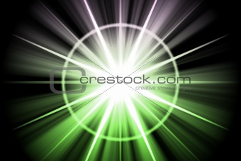 Green Star Sunburst Abstract