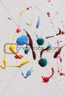 Art paint drops on canvas